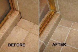 Before and after of a grout repair job in Sacramento.